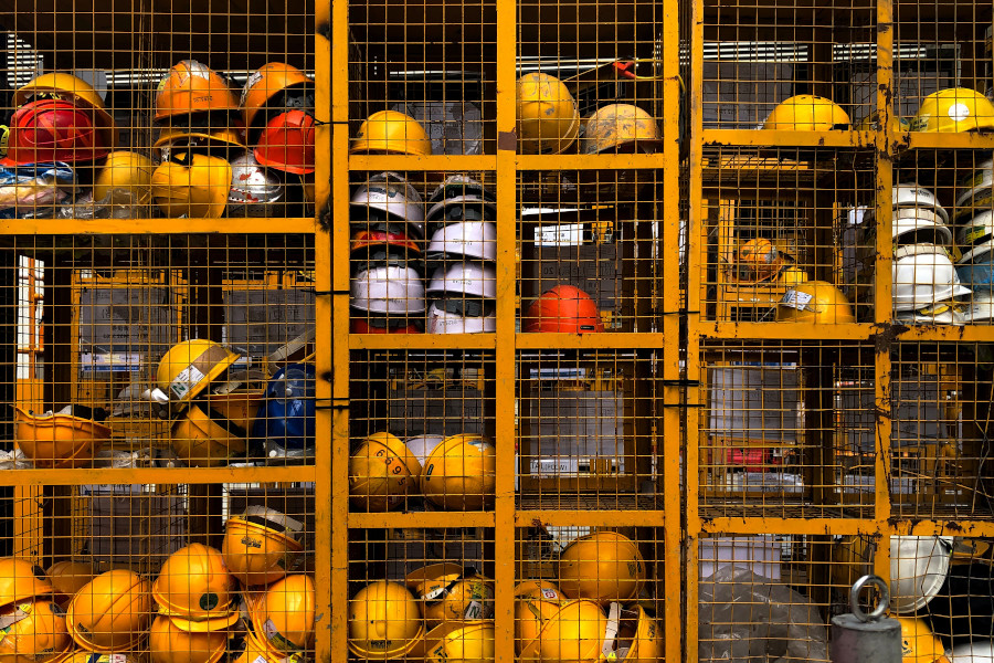 Health and safety represented by hardhats.